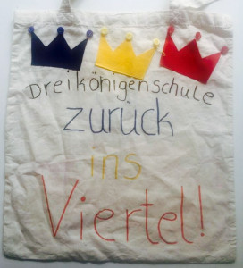 Schüler der Dreikönigenschule haben ihren Wunsch auf einen Stoffbeutel gemalt