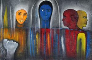 Farbenfrohe Gemälde des afrikanischen Künstlers Taha Diakhate sind in Langwaden zu sehen. Foto: TZ