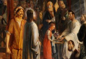 Jesus wird von Pilatus verurteilt: Der Elsener Kreuzweg ist restauriert worden. Foto: TZ